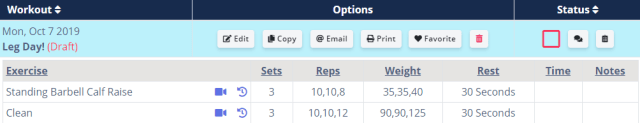 drafting workouts for clients - example workout in workouts screen
