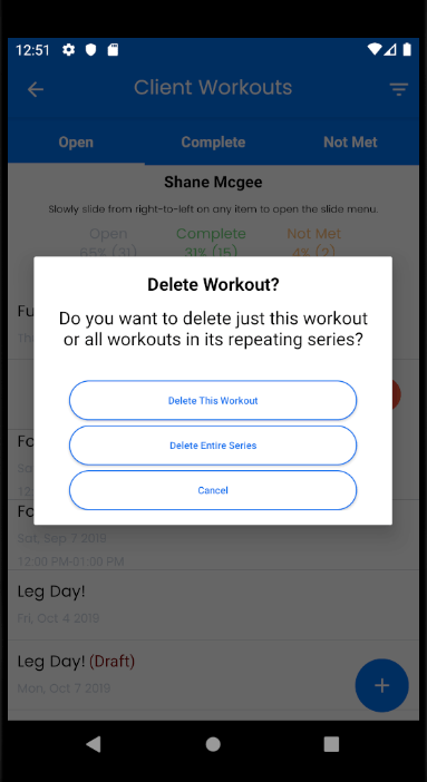delete all events in a series