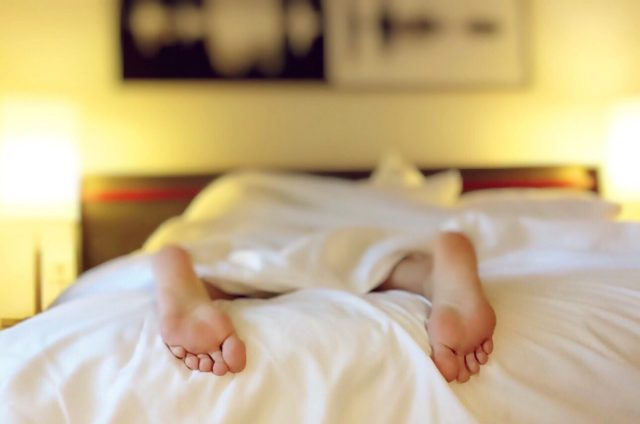 person sleeping with feet out