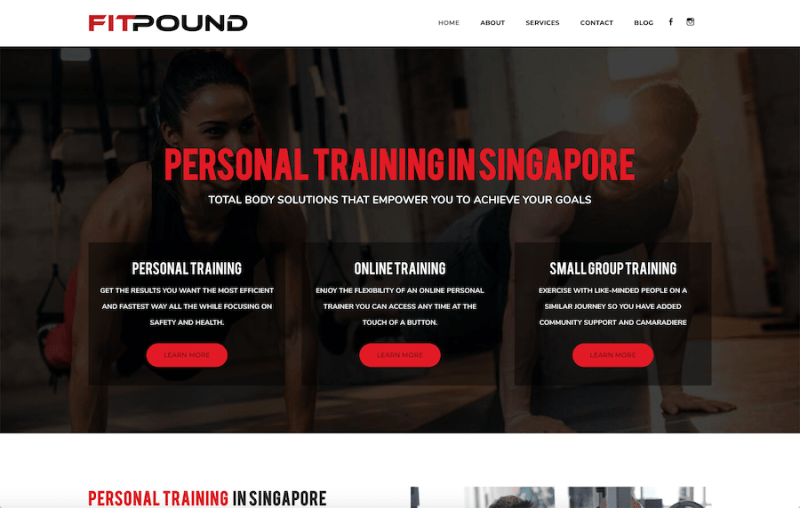 FitPound Personal Training -  Online Personal Trainers Landing Page Example