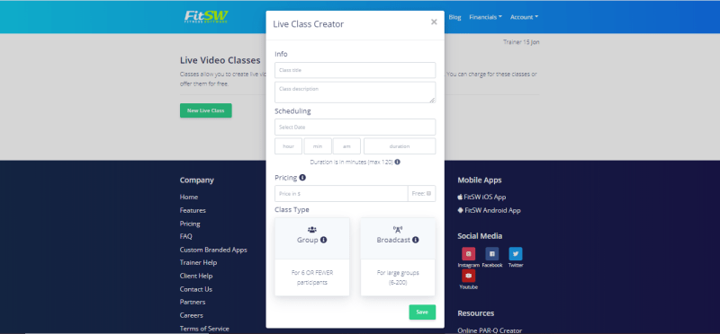 Live video classes for personal trainers - screenshot of the portal to create a class.