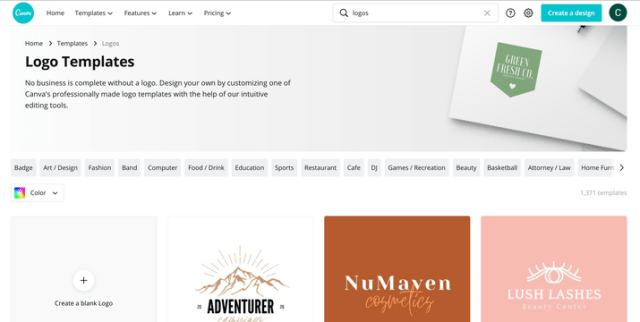 Canva page for logo templates
