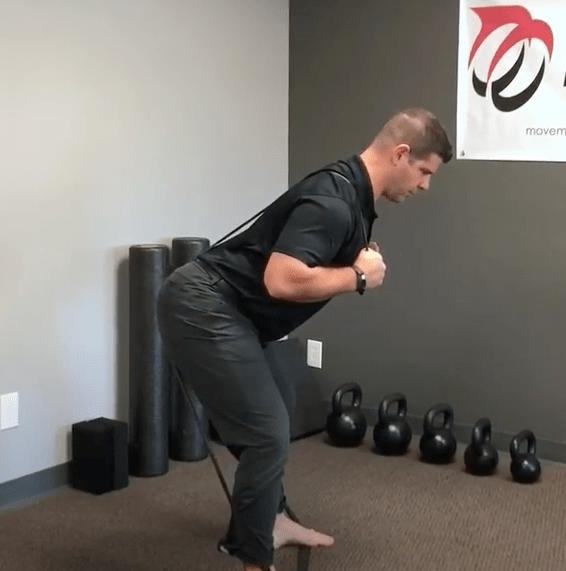 Crossed Resistance Band Over Shoulder Hip Hinge Pt 2