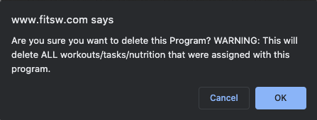 Delete program assignments warning