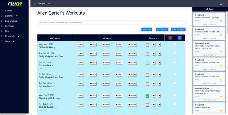 Workout List from the Personal Trainer's Point of View