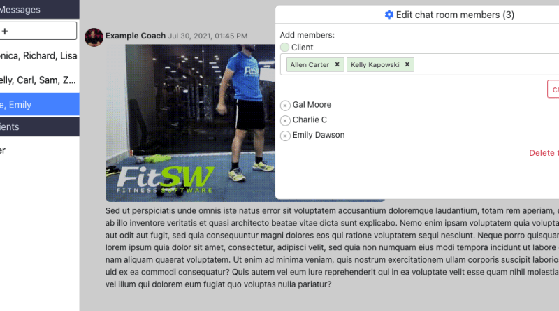 Personal Trainer Chat Group Interface