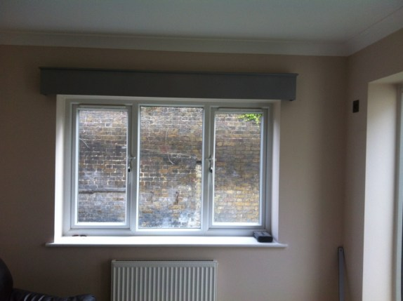 Wood pelmet and roman blind fitted in Uxbridge