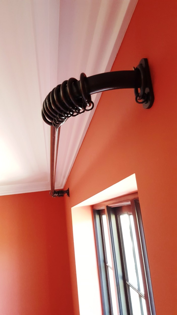 French Style Curved Curtain Pole Installation In London