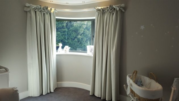 Curved Wooden Pole and Curtain Installation in Oxfordshire