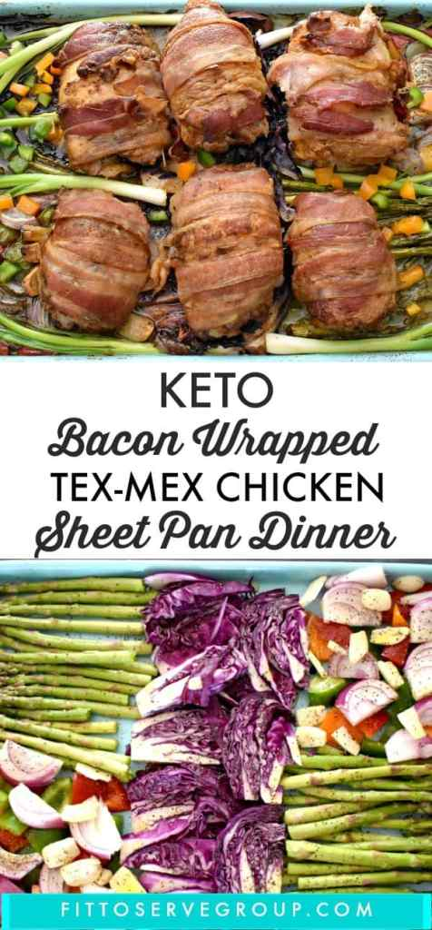 Keto Bacon Wrapped Tex-Mex Chicken (Sheet Pan Dinner)