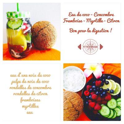 Eau detox à la noix de coco pour la digestion