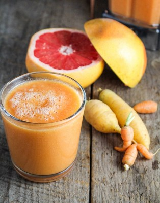 http://katieatthekitchendoor.com/2013/11/21/ingredient-of-the-week-carrots-carrot-grapefruit-mango-smoothie/