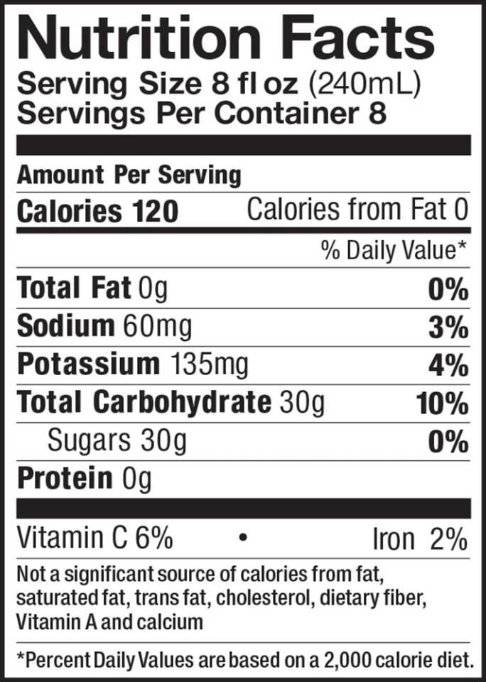 Apple Cider Half Gallon Nutrition Facts