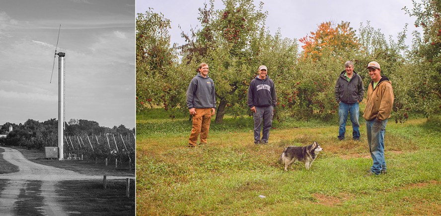 Left: Clean energy producing windmill on the farm. Right: The Samascott men: Jake, Jake's Dad, Bryan's Dad, Bryan.
