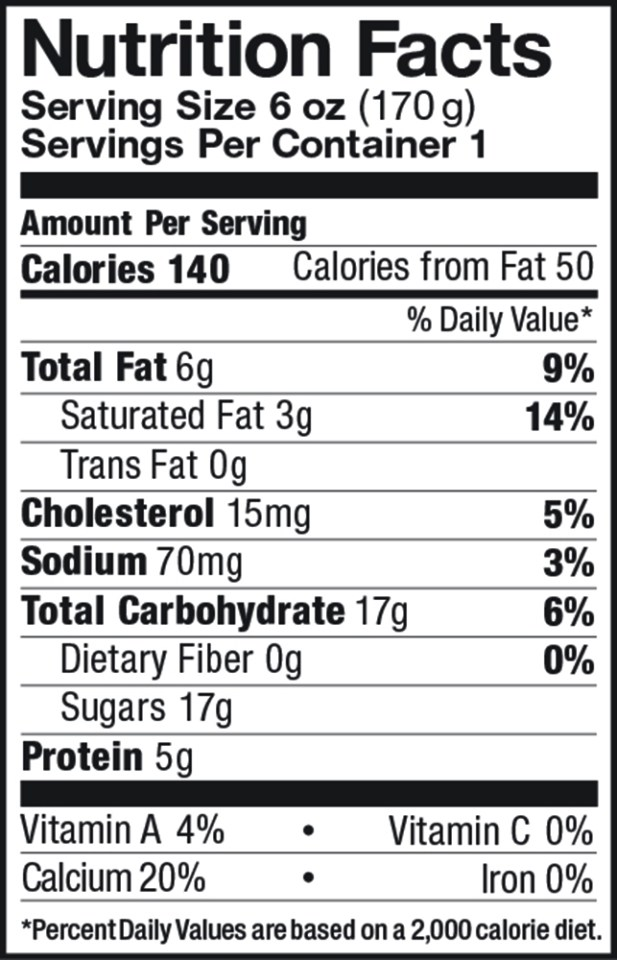 Maple Whole Milk Yogurt Nutrition Label