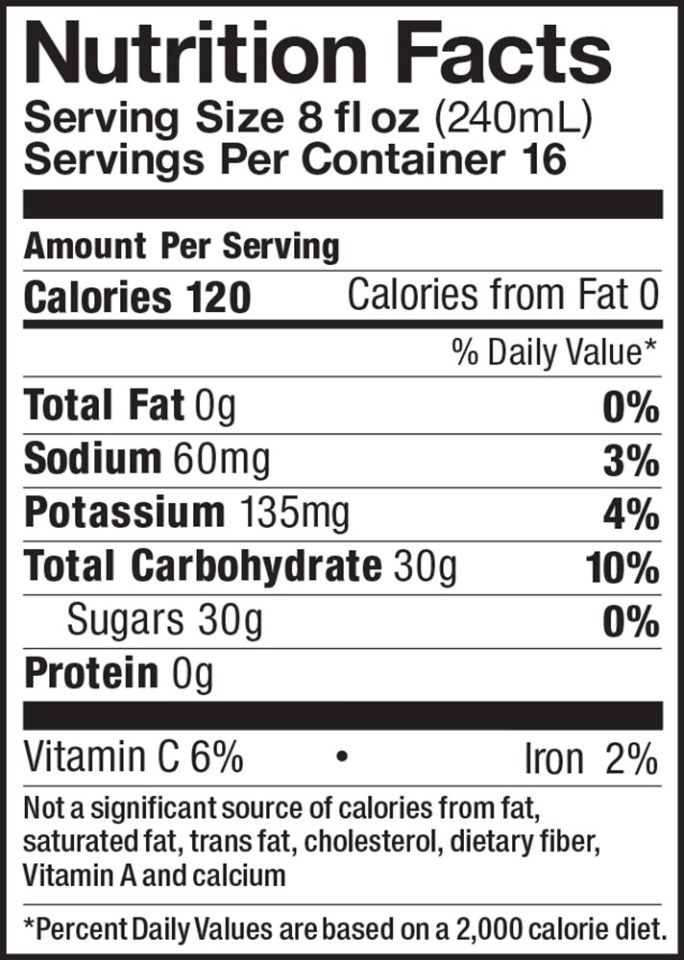 Apple Cider Gallon Nutrition Facts