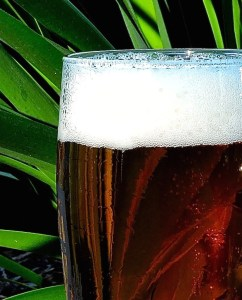 Closeup of beer in glass