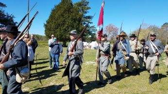 Confederate Soldiers doing a reenactment