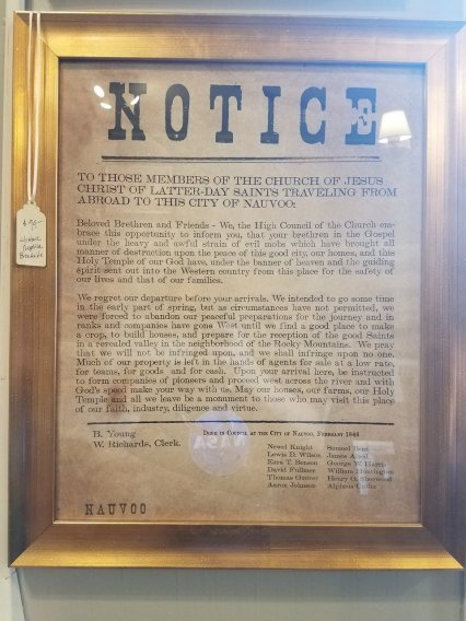 Notice left when they left Nauvoo