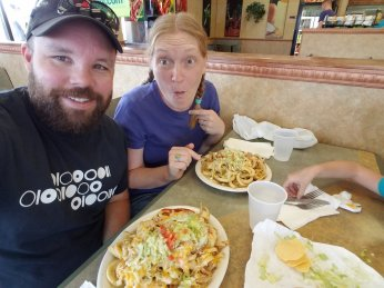 The Twister - It's a huge burrito topped with fries, cheese, and chili sauce