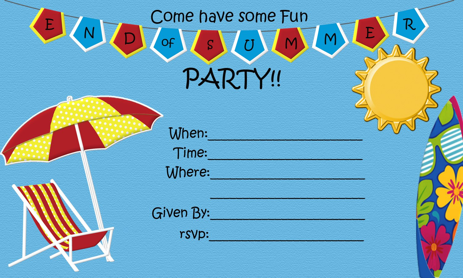 End Of Summer Party Free Printable