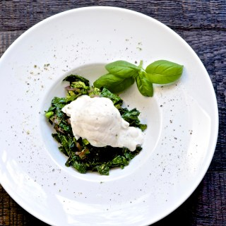 "Broccoli Kale Hash with a Poached Egg, Greek Yogurt ""Hollandaise"""