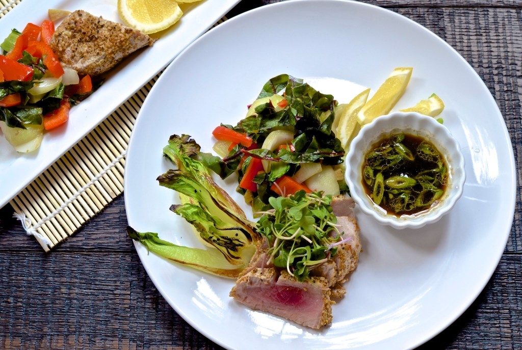 alt=Five Minute Meals Seared Tuna with Bok Choy, Stir-fried Veggies and Dipping sauce photo