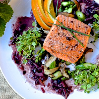 Steelhead Trout with Red Wine, Orange and Kalamata Olives
