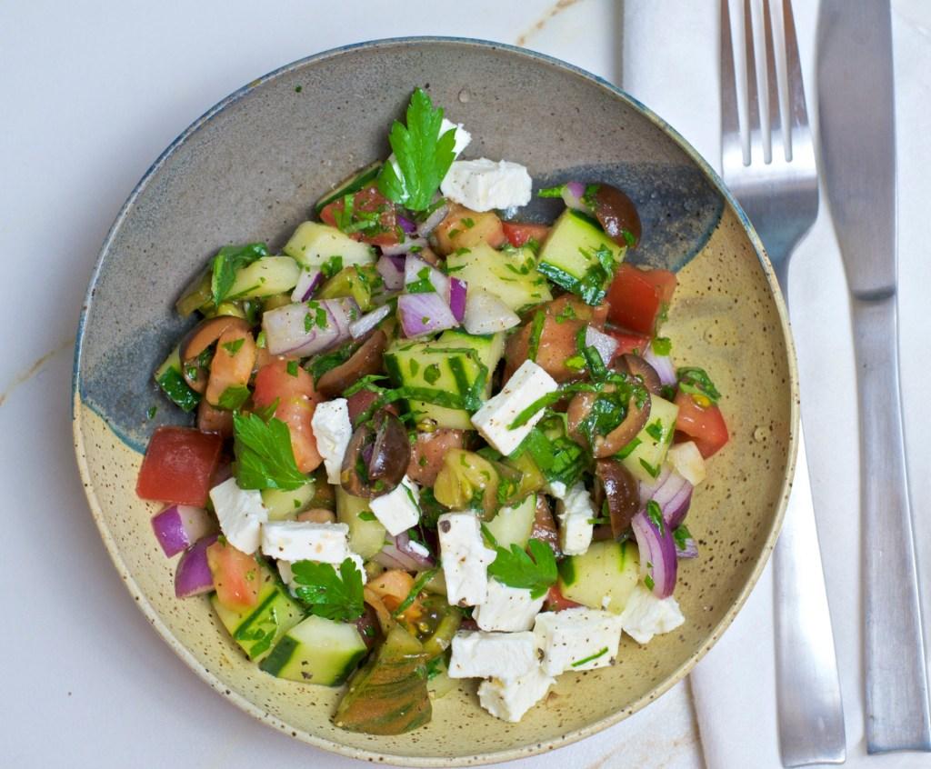 alt=Heirloom Tomato Greek salad photo