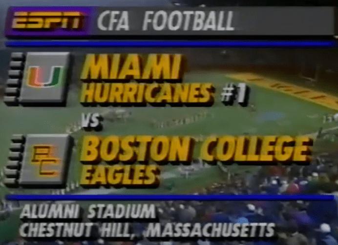 Recollected Dozen, Game 6: 1991 Miami @ Boston College
