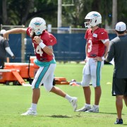 Ryan Fitzpatrick, left, and Josh Rosen are still vying for the starting QB job with the Dolphins. (Photo/Tony Capobianco)