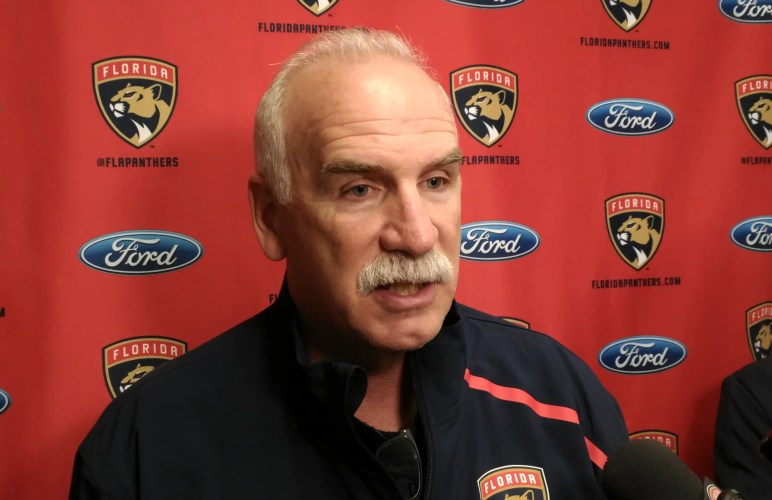 Panthers coach Joel Quenneville focuses on the positives from opening-night loss to Lightning. (Craig Davis for Five Reasons Sports)