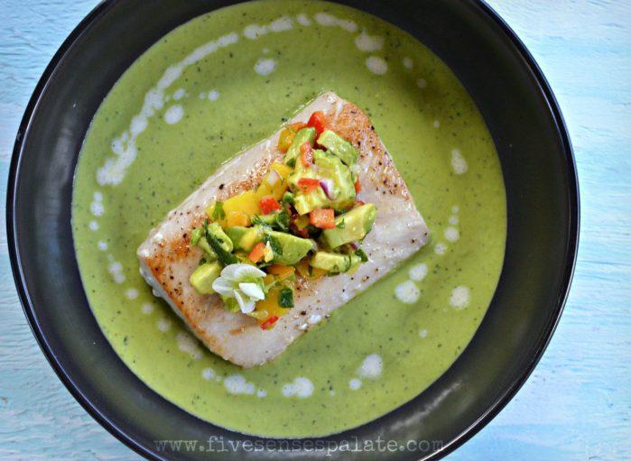 Pan Seared Mahi Mahi, Pea Soup, and Avocado-Mango Salsa Recipe | Five Senses Palate