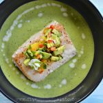 Garden Dinner: Pan Seared Mahi Mahi, Pea Soup, and Avocado-Mango Salsa