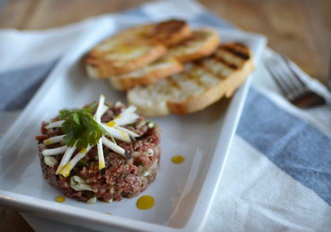Beef Crudo with Black Radish   Five Senses Palate