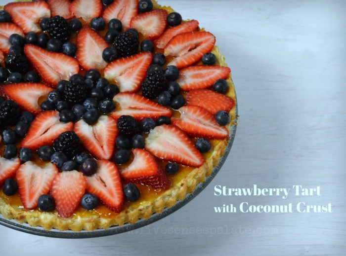 Strawberry Almond Tart with Coconut Crust Recipe | Five Senses Palate