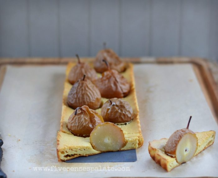 Seckel Pear & Almond Custard Tart Recipe | Five Senses Palate