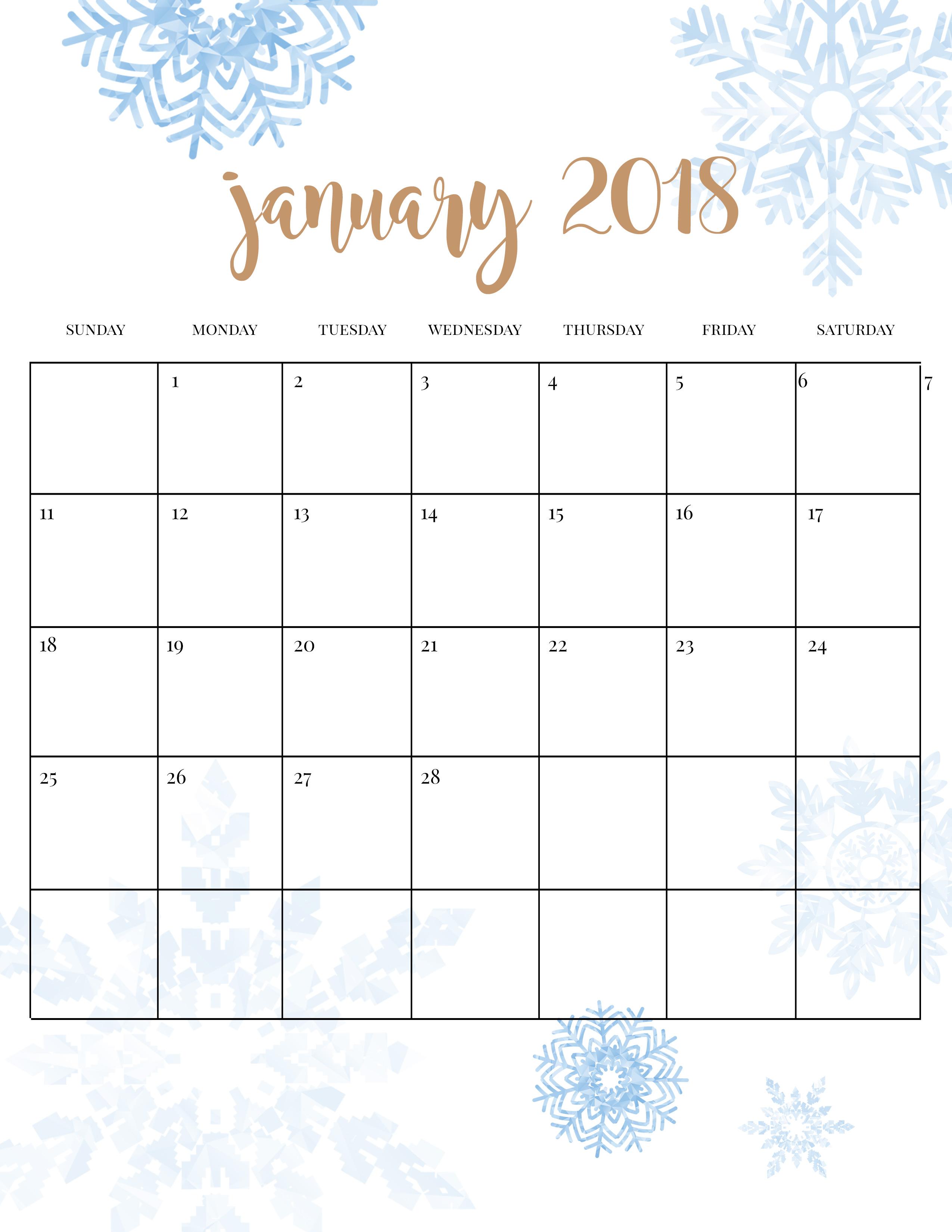 Winter Activities Printable Calendar
