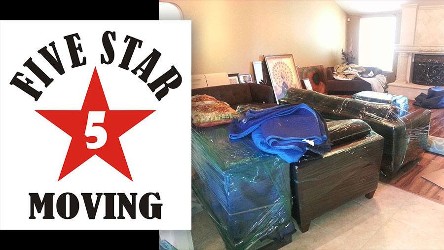 This image shows Five Star Moving logo and how the movers wrappedl iving room furniture for the move