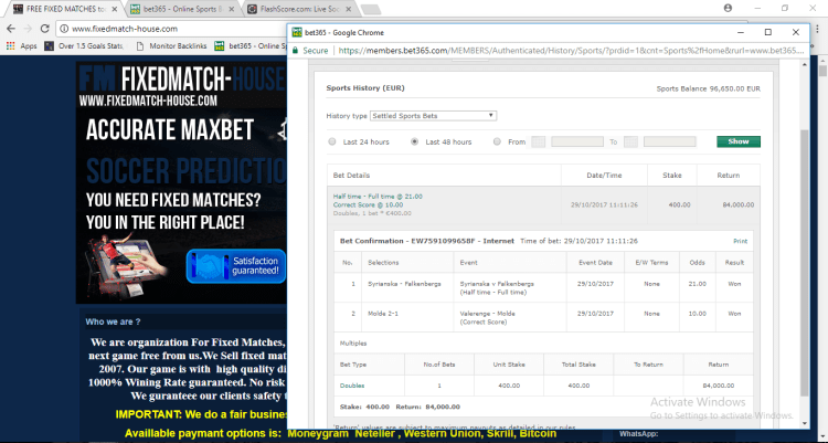 Fixed Matches double win 29.10