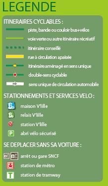Piste cyclable Lille - légende