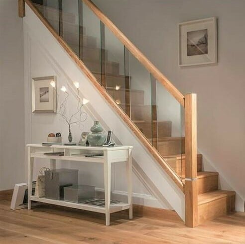 Staircase Handrail Oak and Glass Landing
