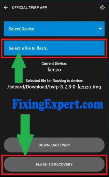 Select Twrp img File to Flash it on Xiaomi redmi Note 3