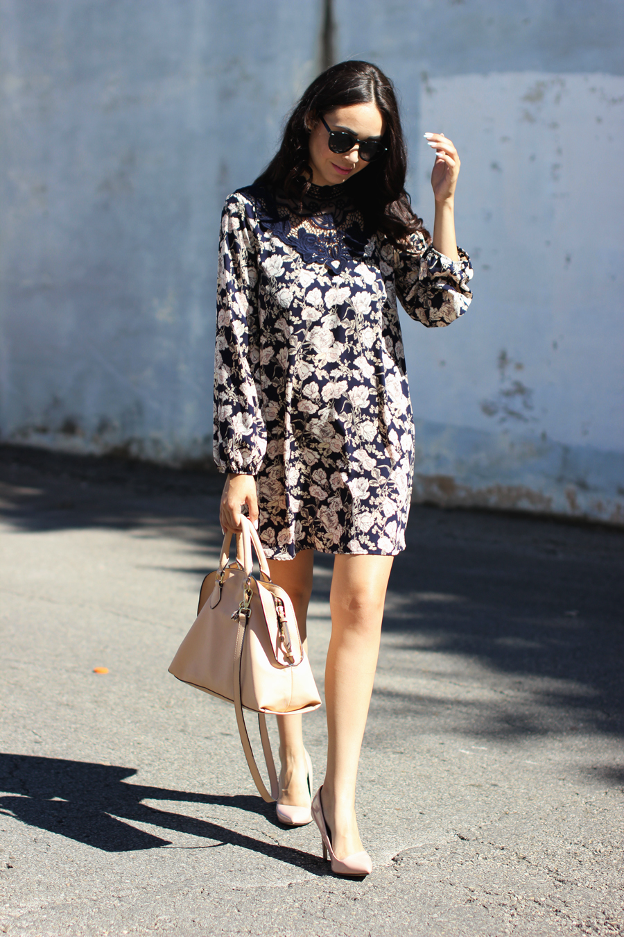FTT-PINK-AND-SILVER-BLUE-HIGH-NECK-FLORAL-DRESS-8