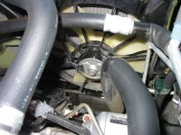 Coolant from the engine is circulated from the left hose, through the radiator, cooled by the fan (center), and returns to the engine via the right hose.