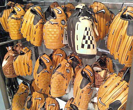 Baseball Gloves via Crossbar Hook - Baseball Gloves via 90 degree tip crossbar hooks
