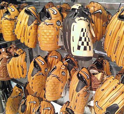 Baseball Gloves via 90 degree tip crossbar hooks