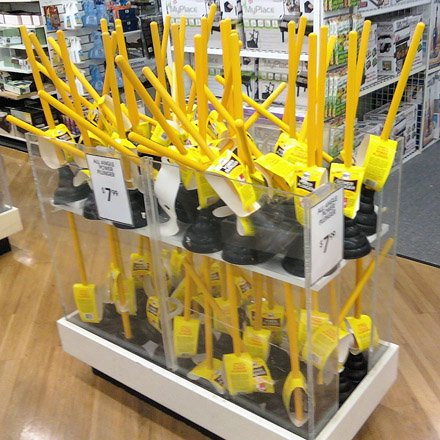 Self-supporting Toilet Plunger Display