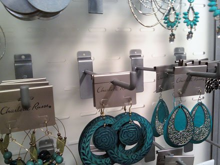 Slatwall Hook Plays Up Jewelry on Slotwall