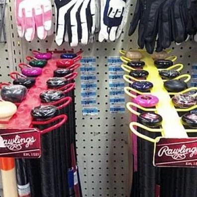 Baseball Bat Faceout as Retail Merchandising Fixture